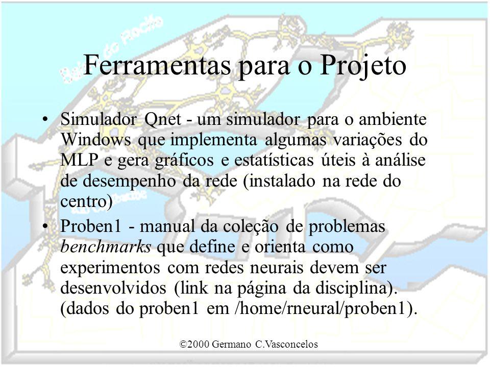 ©2000 Germano C.Vasconcelos Ferramentas para o Projeto Simulador Qnet - um simulador para o ambiente Windows que implementa algumas variações do MLP e