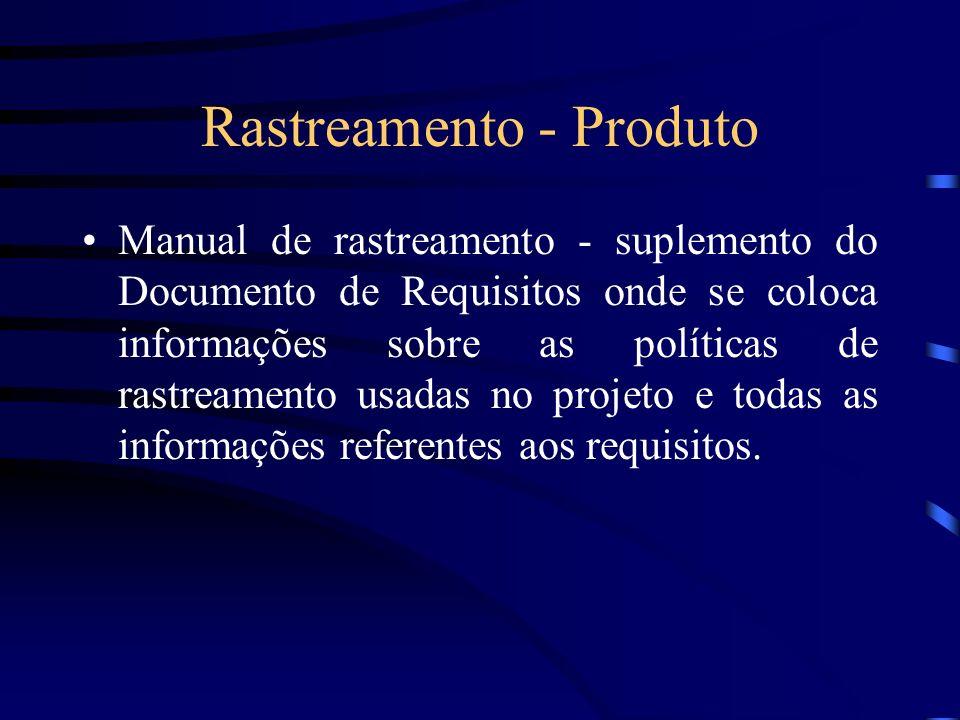 Rastreamento - Produto Manual de rastreamento - suplemento do Documento de Requisitos onde se coloca informações sobre as políticas de rastreamento us