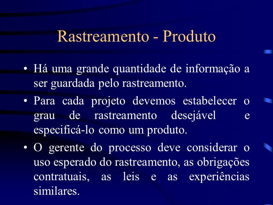 Rastreamento - Produto Há uma grande quantidade de informação a ser guardada pelo rastreamento.