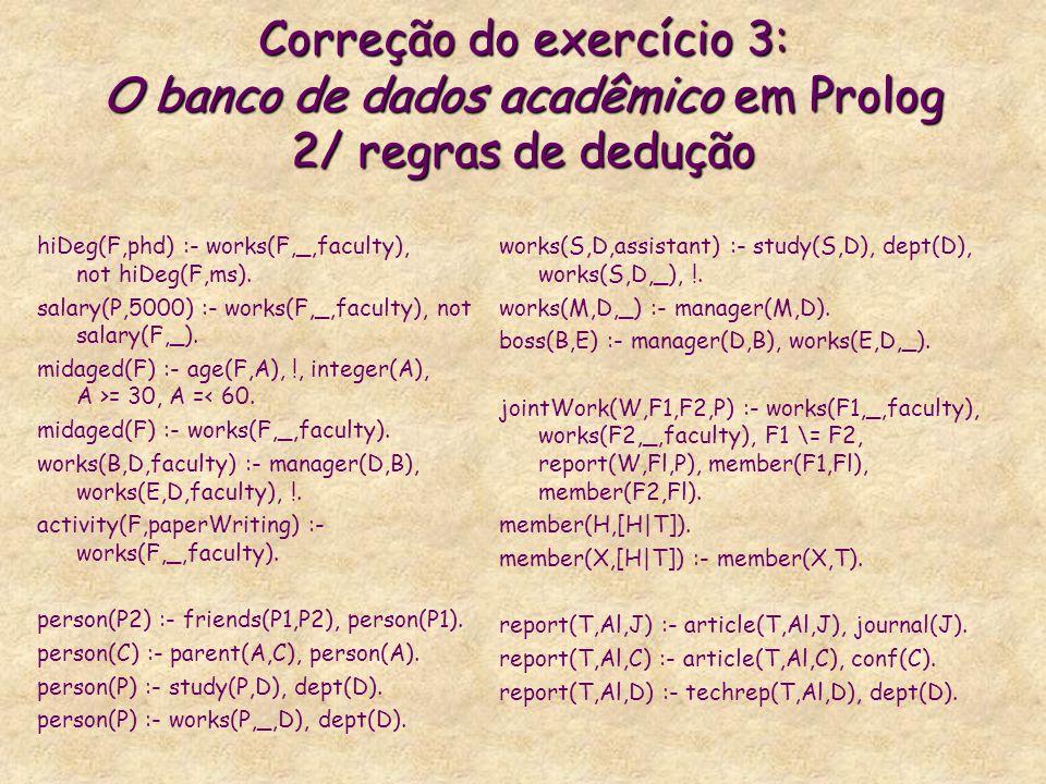 Correção do exercício 3: O banco de dados acadêmico em Prolog 2/ regras de dedução hiDeg(F,phd) :- works(F,_,faculty), not hiDeg(F,ms). salary(P,5000)
