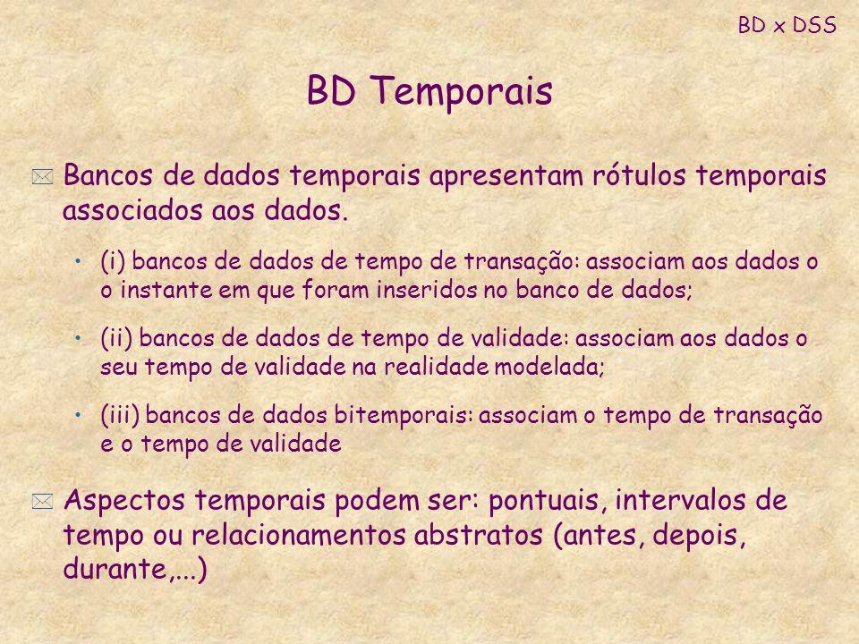 BD Temporais * Bancos de dados temporais apresentam rótulos temporais associados aos dados. (i) bancos de dados de tempo de transação: associam aos da