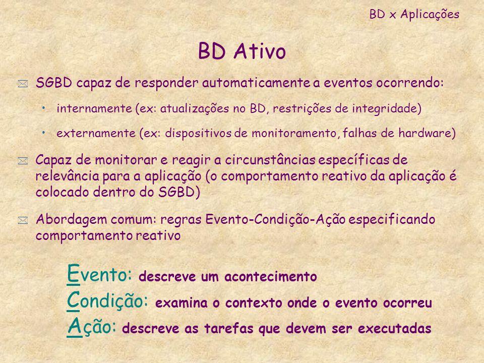 BD Ativo * SGBD capaz de responder automaticamente a eventos ocorrendo: internamente (ex: atualizações no BD, restrições de integridade) externamente
