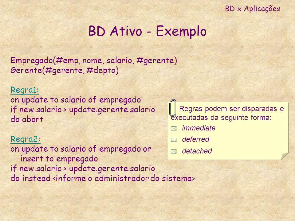 BD Ativo - Exemplo Empregado(#emp, nome, salario, #gerente) Gerente(#gerente, #depto) Regra1: on update to salario of empregado if new.salario > updat