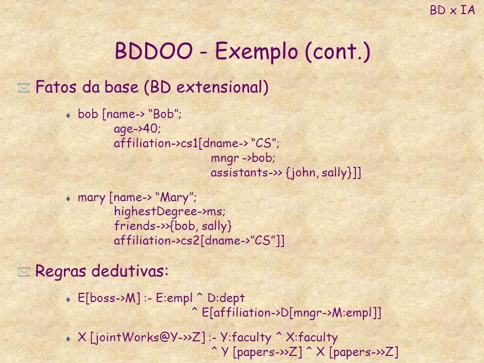 BDDOO - Exemplo (cont.) * Fatos da base (BD extensional) t bob [name-> Bob; age->40; affiliation->cs1[dname-> CS; mngr ->bob; assistants->> {john, sal