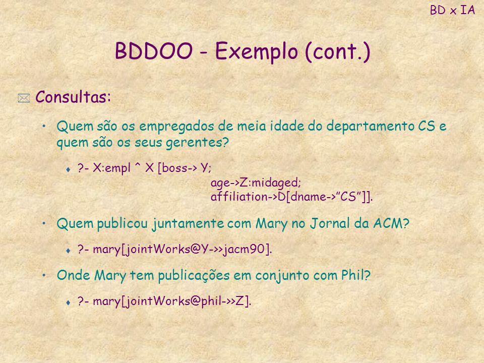 BDDOO - Exemplo (cont.) * Consultas: Quem são os empregados de meia idade do departamento CS e quem são os seus gerentes? t ?- X:empl ^ X [boss-> Y; a