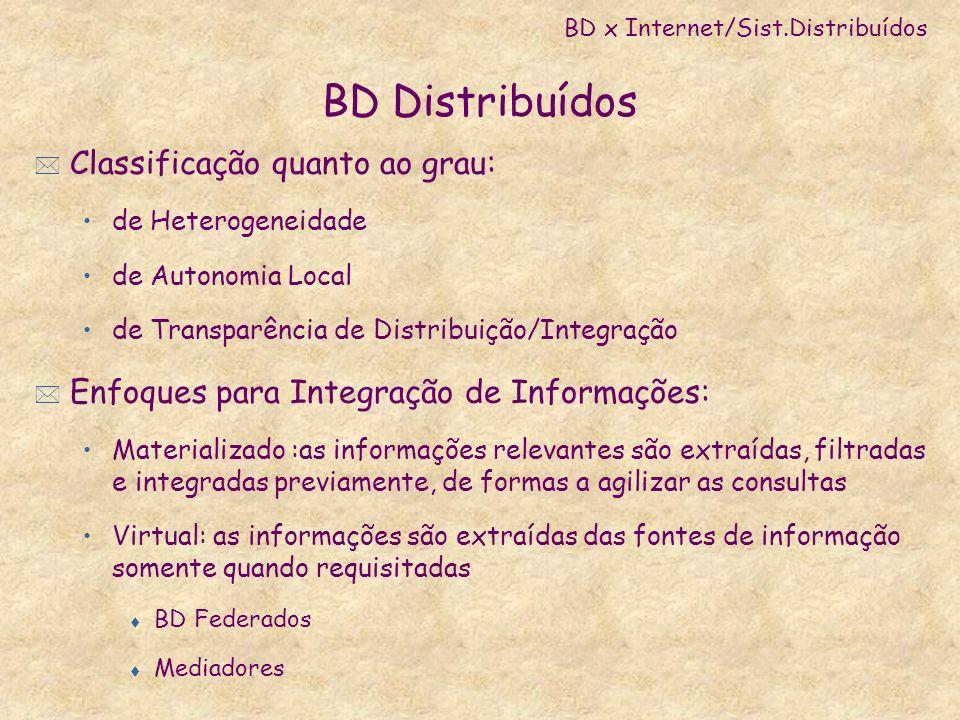 BD Distribuídos * Classificação quanto ao grau: de Heterogeneidade de Autonomia Local de Transparência de Distribuição/Integração * Enfoques para Inte