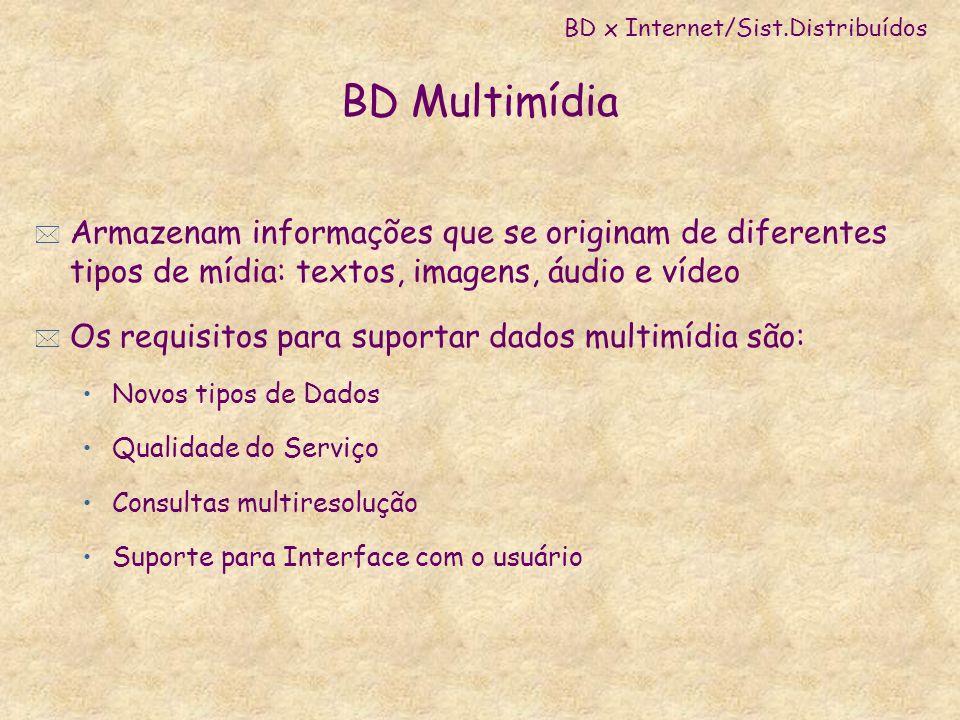 BD Multimídia * Armazenam informações que se originam de diferentes tipos de mídia: textos, imagens, áudio e vídeo * Os requisitos para suportar dados