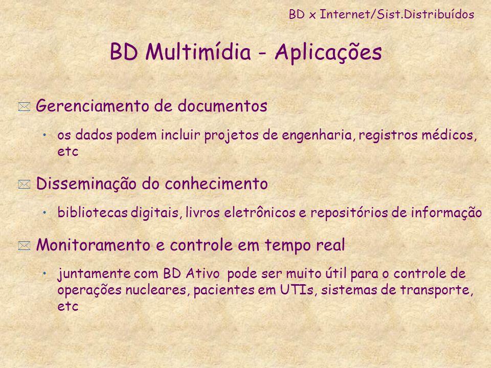 BD Multimídia - Aplicações * Gerenciamento de documentos os dados podem incluir projetos de engenharia, registros médicos, etc * Disseminação do conhe