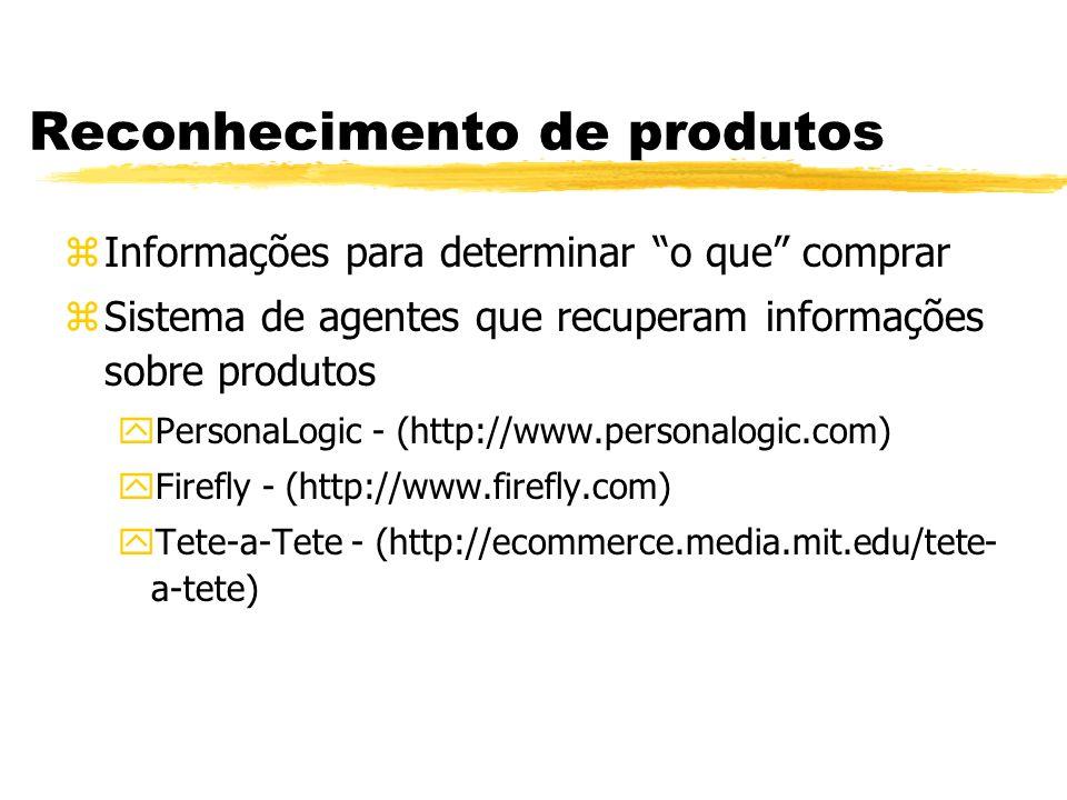Reconhecimento de produtos zInformações para determinar o que comprar zSistema de agentes que recuperam informações sobre produtos yPersonaLogic - (ht