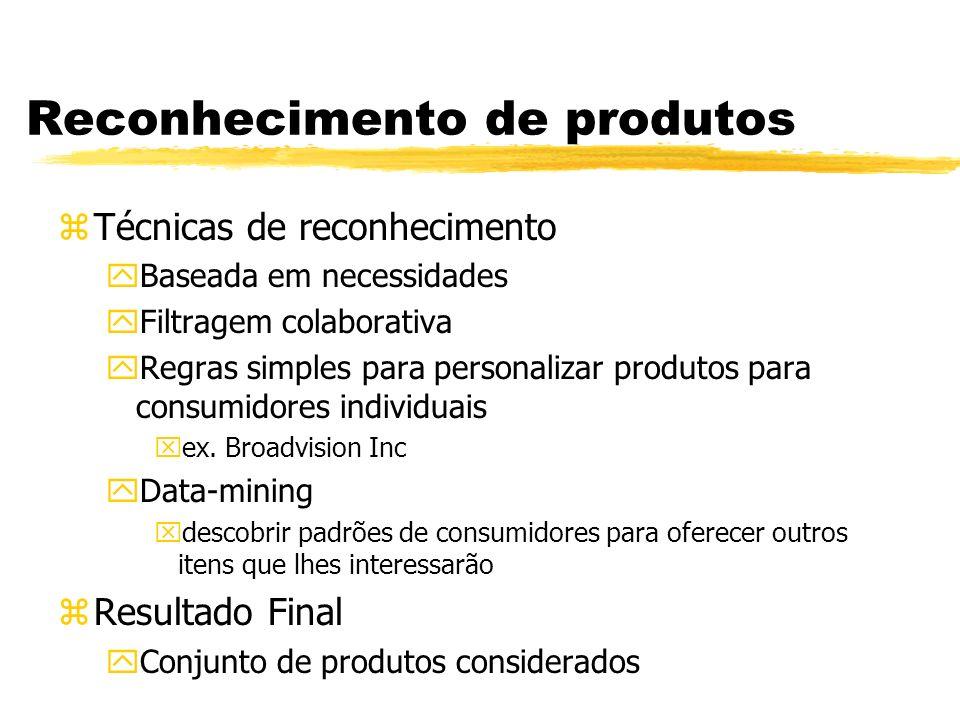 Reconhecimento de produtos zTécnicas de reconhecimento yBaseada em necessidades yFiltragem colaborativa yRegras simples para personalizar produtos par