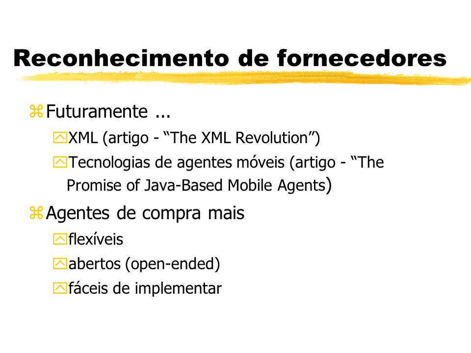 Reconhecimento de fornecedores zFuturamente... yXML (artigo - The XML Revolution) yTecnologias de agentes móveis (artigo - The Promise of Java-Based M