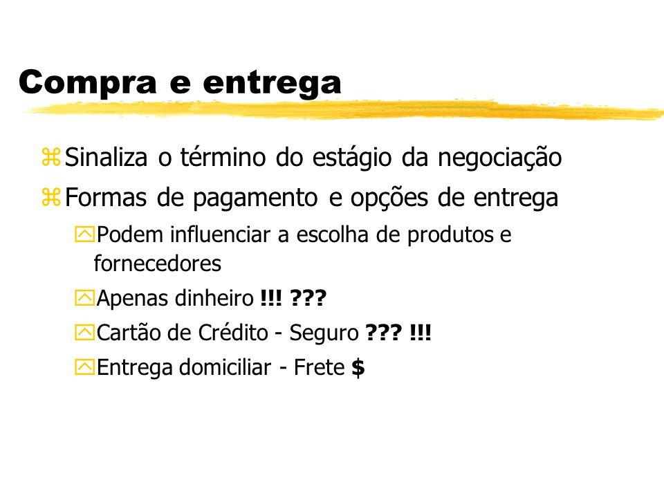 Compra e entrega zSinaliza o término do estágio da negociação zFormas de pagamento e opções de entrega yPodem influenciar a escolha de produtos e forn