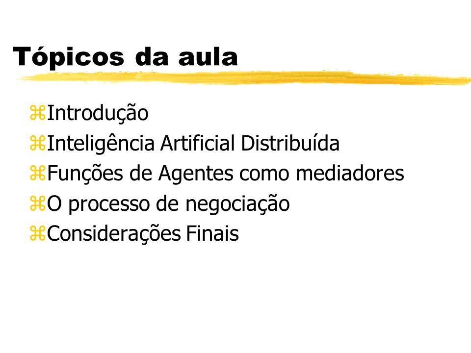 Tópicos da aula zIntrodução zInteligência Artificial Distribuída zFunções de Agentes como mediadores zO processo de negociação zConsiderações Finais