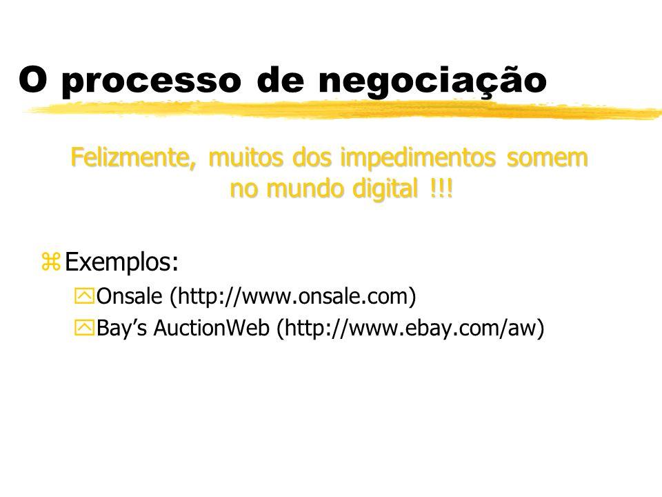 O processo de negociação Felizmente, muitos dos impedimentos somem no mundo digital !!! zExemplos: yOnsale (http://www.onsale.com) yBays AuctionWeb (h