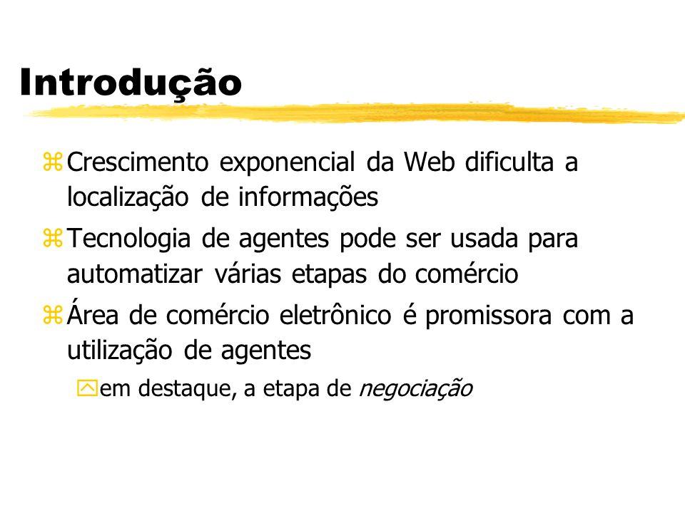 Introdução zCrescimento exponencial da Web dificulta a localização de informações zTecnologia de agentes pode ser usada para automatizar várias etapas