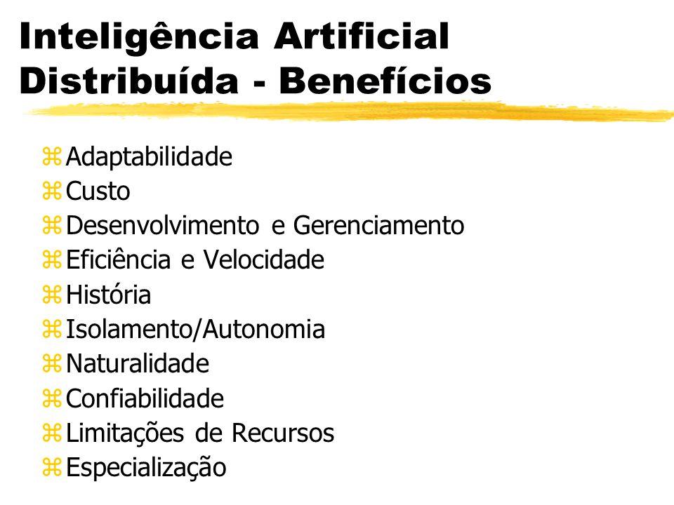 Inteligência Artificial Distribuída - Benefícios zAdaptabilidade zCusto zDesenvolvimento e Gerenciamento zEficiência e Velocidade zHistória zIsolament