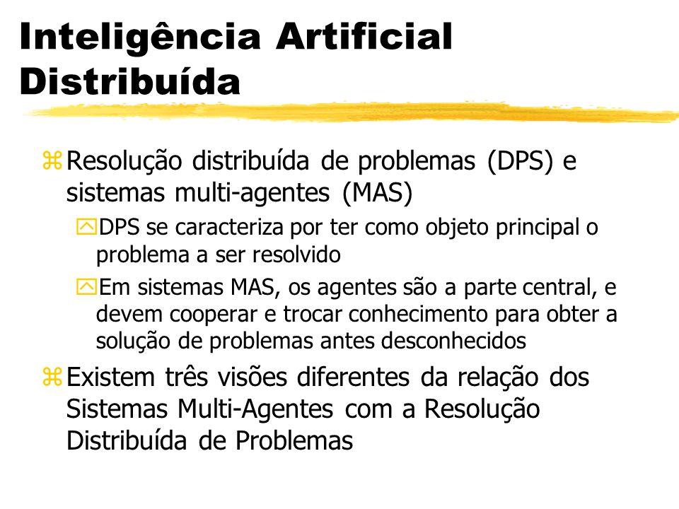 Inteligência Artificial Distribuída zResolução distribuída de problemas (DPS) e sistemas multi-agentes (MAS) yDPS se caracteriza por ter como objeto p