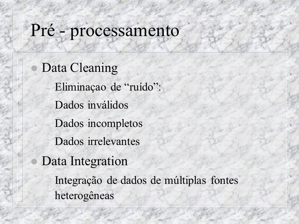 Pré - processamento l Data Cleaning – Eliminaçao de ruído: – Dados inválidos – Dados incompletos – Dados irrelevantes l Data Integration – Integração