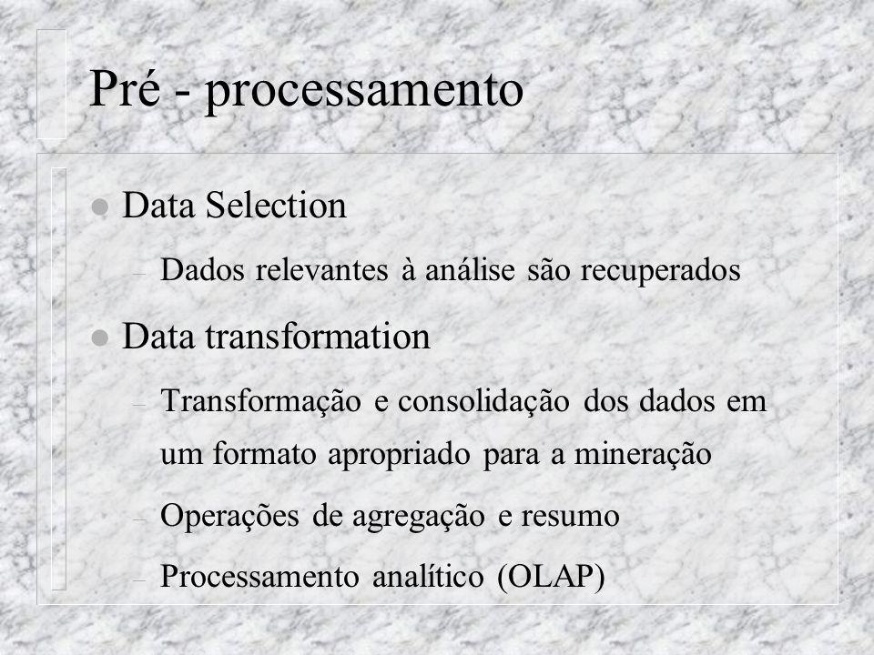 Pré - processamento l Data Selection – Dados relevantes à análise são recuperados l Data transformation – Transformação e consolidação dos dados em um