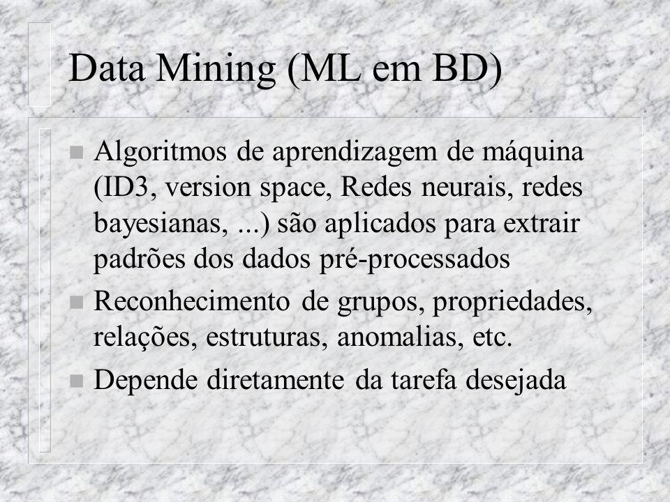 Data Mining (ML em BD) n Algoritmos de aprendizagem de máquina (ID3, version space, Redes neurais, redes bayesianas,...) são aplicados para extrair pa