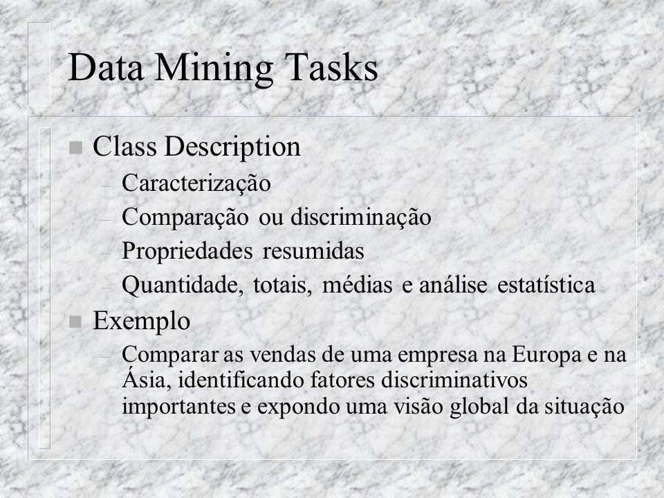 Data Mining Tasks n Class Description – Caracterização – Comparação ou discriminação – Propriedades resumidas – Quantidade, totais, médias e análise e