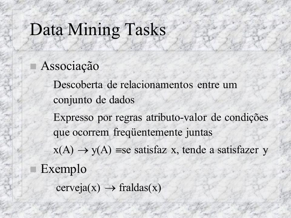 Data Mining Tasks n Associação – Descoberta de relacionamentos entre um conjunto de dados – Expresso por regras atributo-valor de condições que ocorre