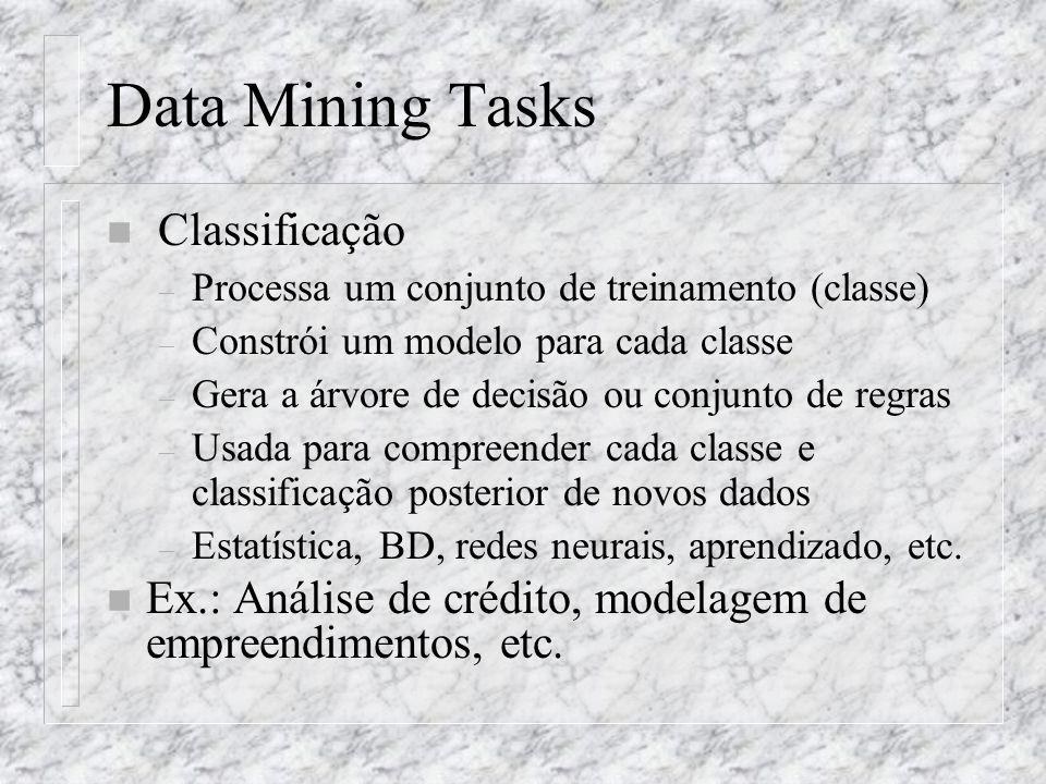 Data Mining Tasks n Classificação – Processa um conjunto de treinamento (classe) – Constrói um modelo para cada classe – Gera a árvore de decisão ou c