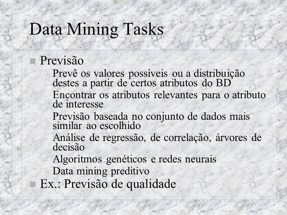 Data Mining Tasks n Previsão – Prevê os valores possíveis ou a distribuição destes a partir de certos atributos do BD – Encontrar os atributos relevan