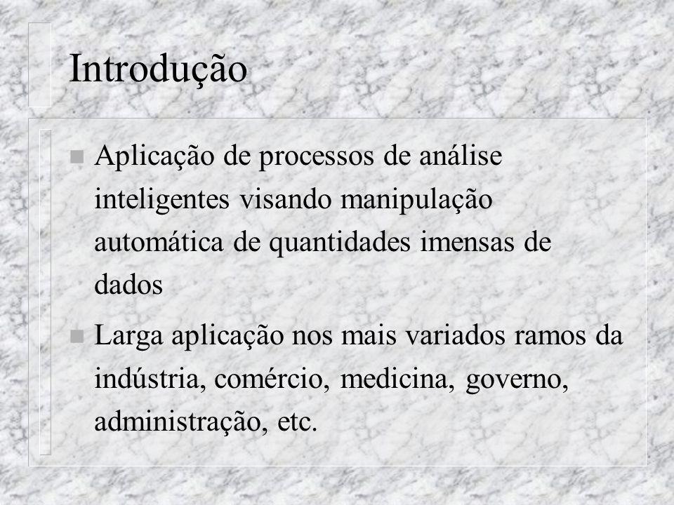 Introdução n Aplicação de processos de análise inteligentes visando manipulação automática de quantidades imensas de dados n Larga aplicação nos mais