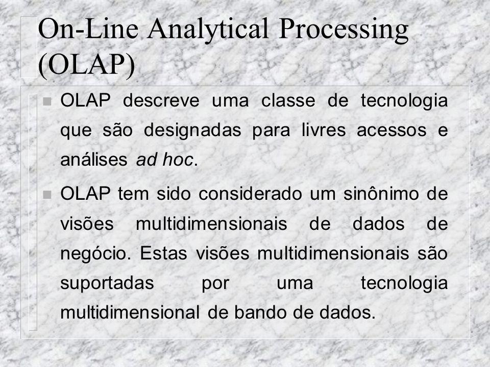 On-Line Analytical Processing (OLAP) n OLAP descreve uma classe de tecnologia que são designadas para livres acessos e análises ad hoc. n OLAP tem sid