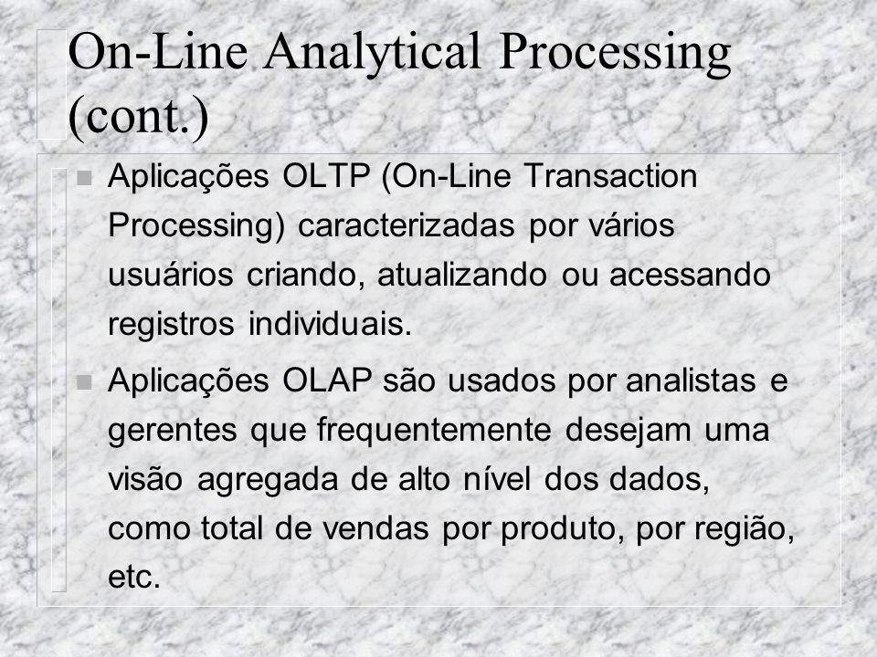 On-Line Analytical Processing (cont.) n Aplicações OLTP (On-Line Transaction Processing) caracterizadas por vários usuários criando, atualizando ou ac