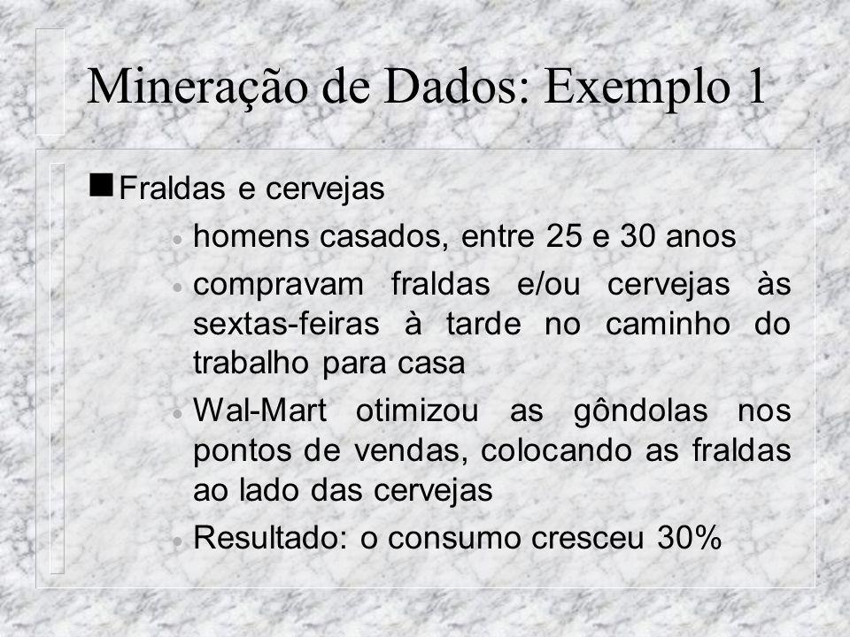 Mineração de Dados: Exemplo 1 n Fraldas e cervejas homens casados, entre 25 e 30 anos compravam fraldas e/ou cervejas às sextas-feiras à tarde no cami