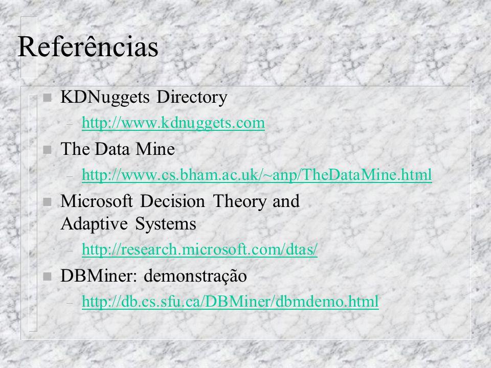 Referências n KDNuggets Directory – http://www.kdnuggets.com http://www.kdnuggets.com n The Data Mine – http://www.cs.bham.ac.uk/~anp/TheDataMine.html