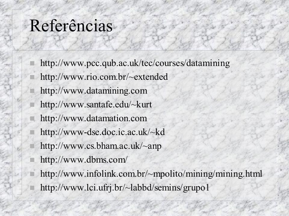 Referências n http://www.pcc.qub.ac.uk/tec/courses/datamining n http://www.rio.com.br/~extended n http://www.datamining.com n http://www.santafe.edu/~