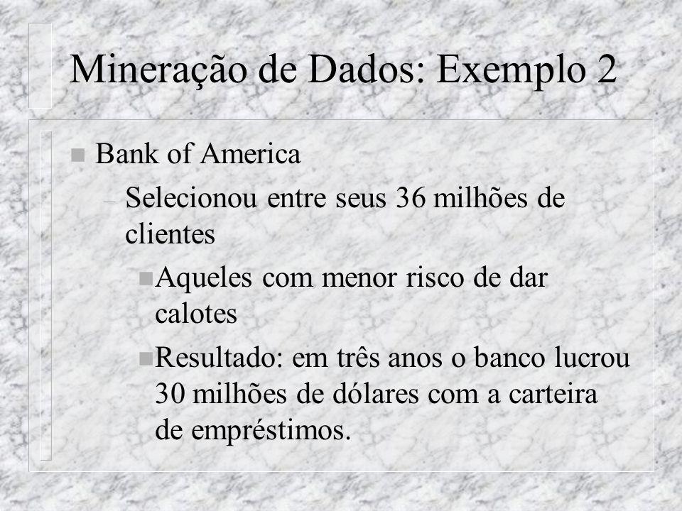 Mineração de Dados: Exemplo 2 n Bank of America – Selecionou entre seus 36 milhões de clientes n Aqueles com menor risco de dar calotes n Resultado: e