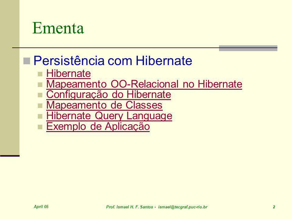 April 05 Prof. Ismael H. F. Santos - ismael@tecgraf.puc-rio.br 3 Hibernate FPSW-Java