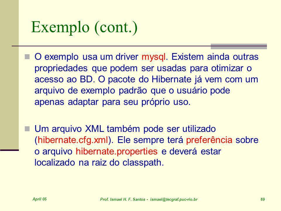 April 05 Prof. Ismael H. F. Santos - ismael@tecgraf.puc-rio.br 69 O exemplo usa um driver mysql. Existem ainda outras propriedades que podem ser usada