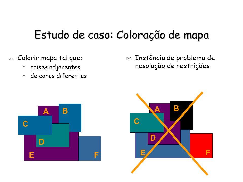 Estudo de caso: Coloração de mapa * Colorir mapa tal que: países adjacentes de cores diferentes A B C F D E * Instância de problema de resolução de re