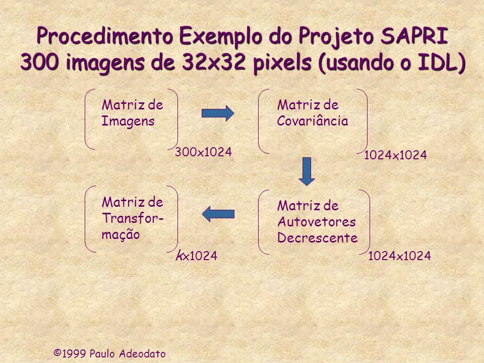 ©1999 Paulo Adeodato Procedimento Exemplo do Projeto SAPRI 300 imagens de 32x32 pixels (usando o IDL) Matriz de Imagens 300x1024 Matriz de Covariância