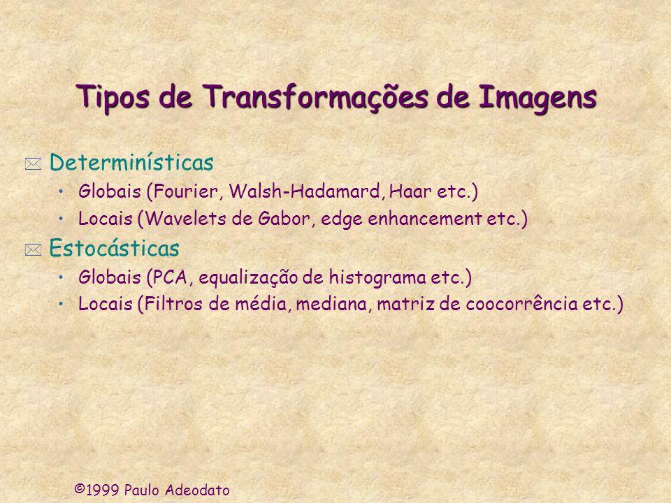 ©1999 Paulo Adeodato Tipos de Transformações de Imagens * Determinísticas Globais (Fourier, Walsh-Hadamard, Haar etc.) Locais (Wavelets de Gabor, edge