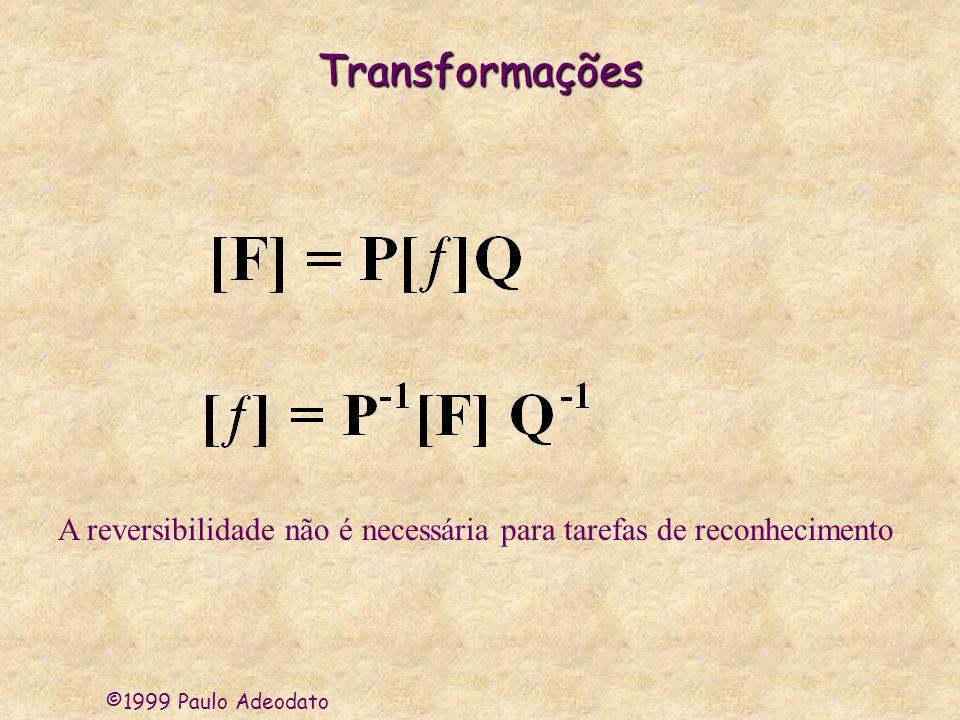 ©1999 Paulo Adeodato Características Importantes dasTransformações * Capacidade de capturar informações relevantes * Consistir de operações simples * Ser reversível (no caso de compressão de informação)