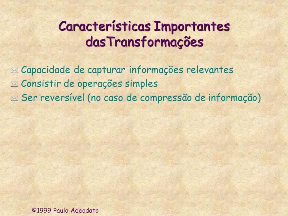 ©1999 Paulo Adeodato Características Importantes dasTransformações * Capacidade de capturar informações relevantes * Consistir de operações simples *