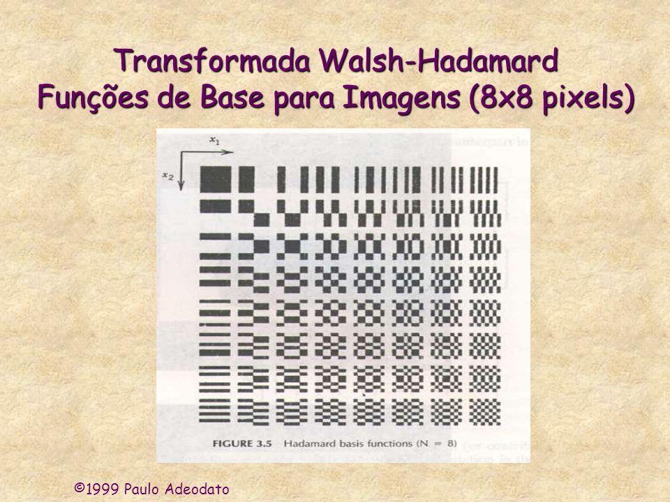 ©1999 Paulo Adeodato Procedimento Exemplo do Projeto SAPRI 300 imagens de 32x32 pixels (usando o IDL) Matriz de Imagens 300x1024 Matriz de Covariância 1024x1024 Matriz de Autovetores Decrescente 1024x1024 Matriz de Transfor- mação k x1024