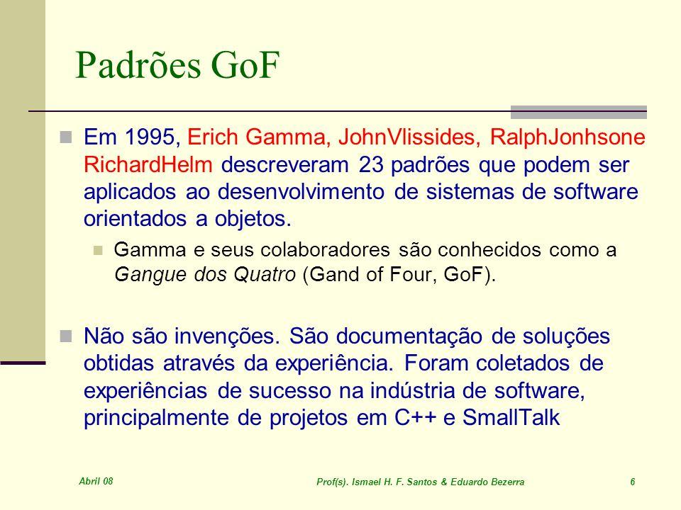 Abril 08 Prof(s). Ismael H. F. Santos & Eduardo Bezerra 87 Observer (motivação) Exemplo clássico