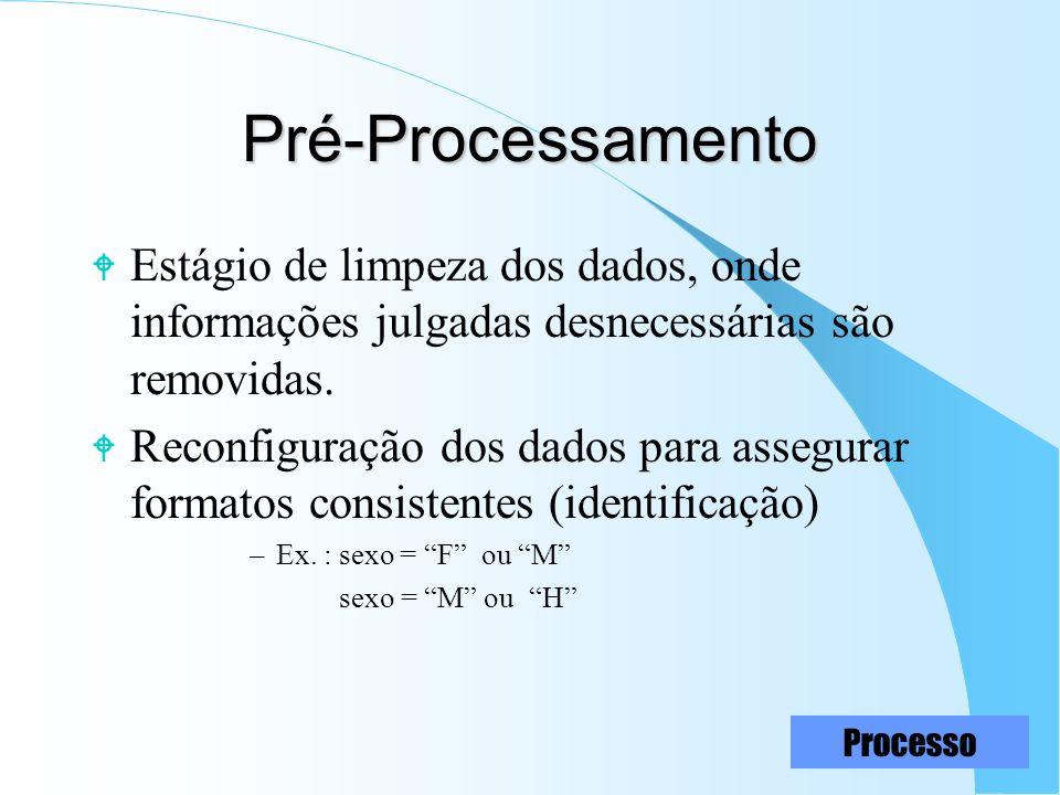 13 Pré-Processamento W Estágio de limpeza dos dados, onde informações julgadas desnecessárias são removidas. W Reconfiguração dos dados para assegurar