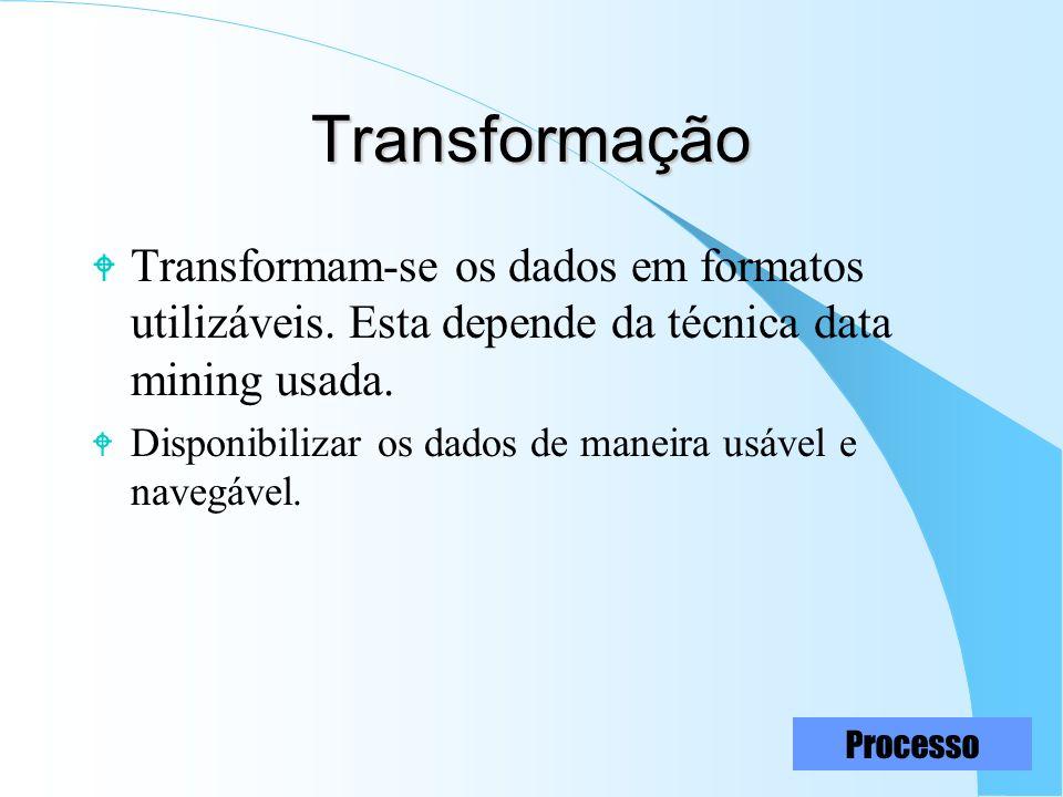 15 Transformação W Transformam-se os dados em formatos utilizáveis. Esta depende da técnica data mining usada. W Disponibilizar os dados de maneira us