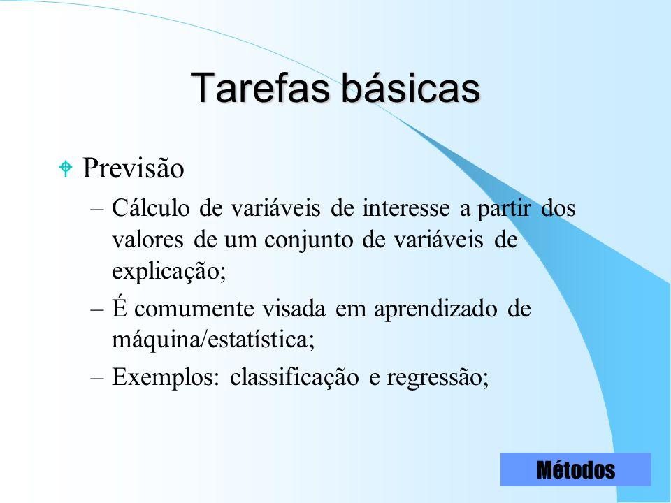 Tarefas básicas W Previsão –Cálculo de variáveis de interesse a partir dos valores de um conjunto de variáveis de explicação; –É comumente visada em a