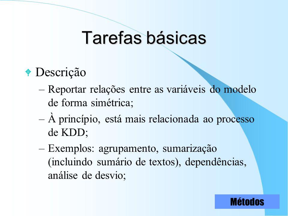 Tarefas básicas W Descrição –Reportar relações entre as variáveis do modelo de forma simétrica; –À princípio, está mais relacionada ao processo de KDD