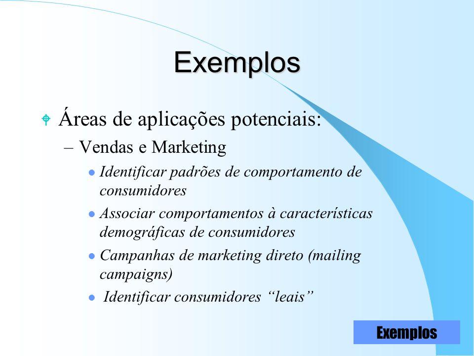 Exemplos W Áreas de aplicações potenciais: –Vendas e Marketing l Identificar padrões de comportamento de consumidores l Associar comportamentos à cara