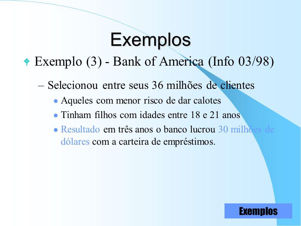 Exemplos W Exemplo (3) - Bank of America (Info 03/98) –Selecionou entre seus 36 milhões de clientes l Aqueles com menor risco de dar calotes l Tinham